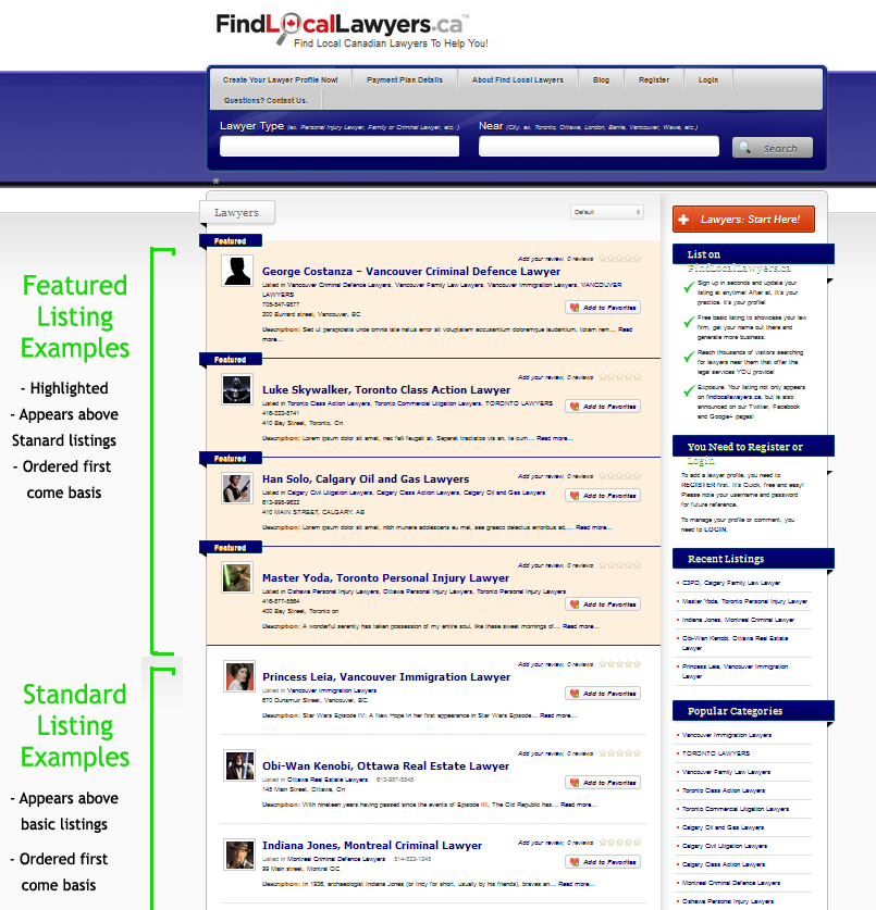 Find Local Lawyers Sample Listings